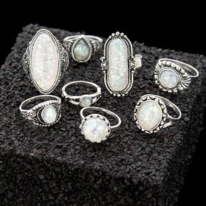 SET OF 8 OPAL MIDI KNUCKLE STACKABLE RINGS